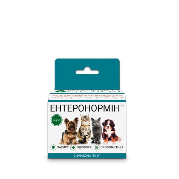 ЕНТЕРОНОРМІН™ з Йодіс+Se для домашніх улюбленців до 7кг (6 флаконів 1г+10мл)