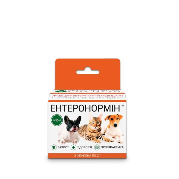 ЕНТЕРОНОРМІН™ з Йодіс+Se для домашніх улюбленців до 15кг (6 флаконів 2г+10мл)