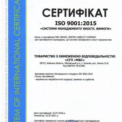 Сертификат ISO 9001: 2015 ООО «СГП «МБС»